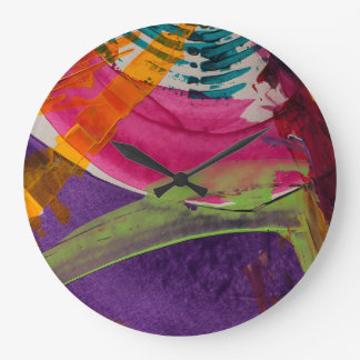 Grande Horloge Ronde Art abstrait multi de couleur
