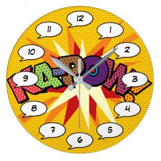Grande Horloge Ronde Art de bruit de bande dessinée KA-POW