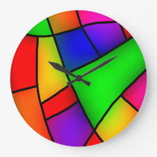 Grande Horloge Ronde Art moderne, mosaïque colorée artistique