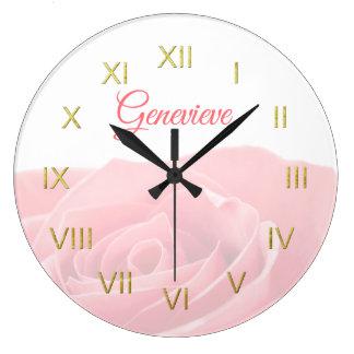 Grande Horloge Ronde Assez rose de rose personnalisé avec l'horloge