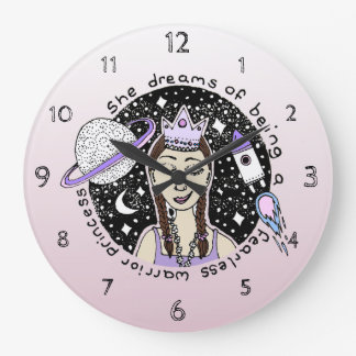 Grande Horloge Ronde Autorisez princesse féministe Galaxy Dream Doodle