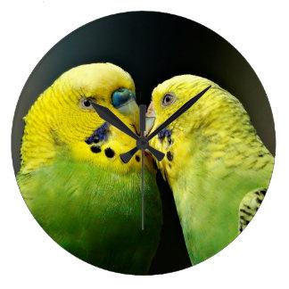 Grande Horloge Ronde Baisers de l'oiseau de perroquet de perruche