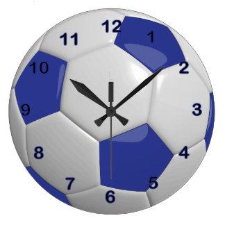 Grande Horloge Ronde Ballon de football | bleu-foncé