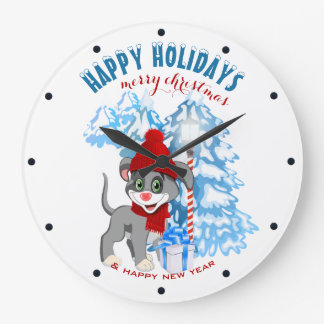 Grande Horloge Ronde Bande dessinée de Noël de chiot de nez de coeur