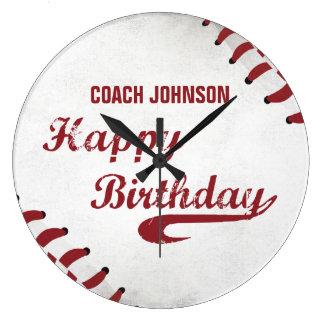 Grande Horloge Ronde Base-ball grunge de joyeux anniversaire