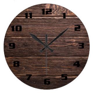 Grande Horloge Ronde Beau bois patiné foncé rustique authentique