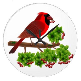 Grande Horloge Ronde Beau cardinal rouge