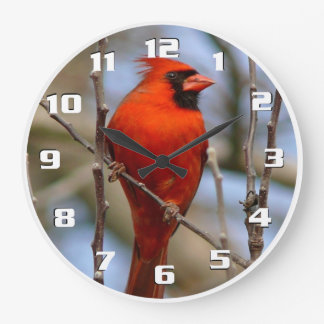 Grande Horloge Ronde Beau cardinal rouge d'oiseau élégant de Noël