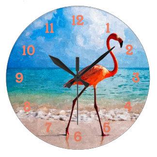 Grande Horloge Ronde Beau flamant élégant sur l'art d'aquarelle de
