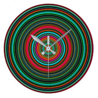 Grande Horloge Ronde Beau motif circulaire coloré