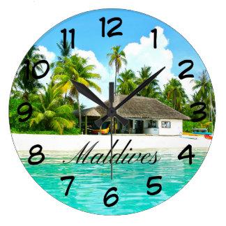 Grande Horloge Ronde Beau paysage des Maldives