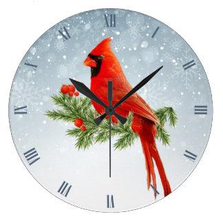 Grande Horloge Ronde Bel oiseau cardinal rouge sur l'arrière - plan de