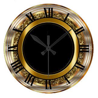Grande Horloge Ronde Bel or et noir
