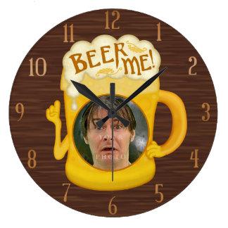 Grande Horloge Ronde Bière drôle je photo personnalisée par | potable