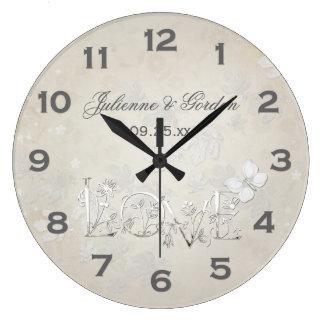 Grande Horloge Ronde Blanc vintage sur l'horloge blanche de mariage