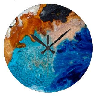 Grande Horloge Ronde Bleu abstrait de conception et arrière - plan de