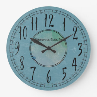 Grande Horloge Ronde Bleu de bleuet avec la désagrégation