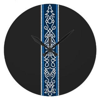 Grande Horloge Ronde Bleu de motif de Viking