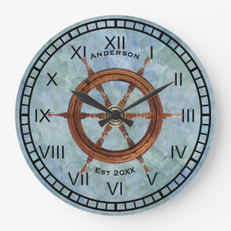 Grande Horloge Ronde Bleu nautique d'horloge murale de la barre du