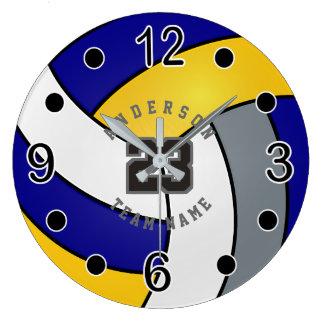 Grande Horloge Ronde Bleu, or et style blanc de volleyball avec le