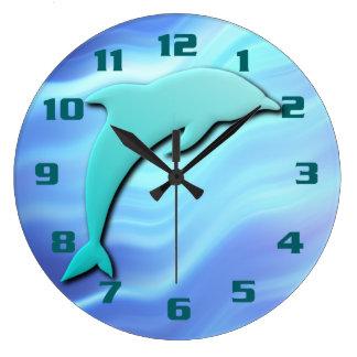 Grande Horloge Ronde Bleu sautant de cool d'effet du dauphin 3D