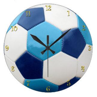Grande Horloge Ronde Bleus de ballon de football avec des chiffres