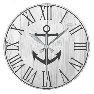 Grande Horloge Ronde Bois blanc de Faux nautique élégant et ancre grise