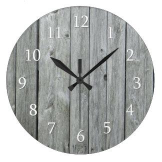 Grande Horloge Ronde Bois rustique de pays