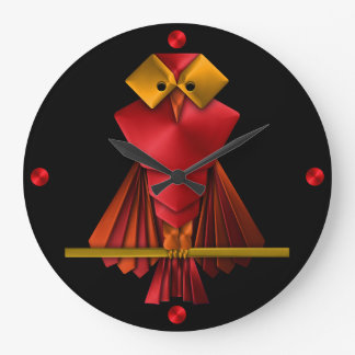 Grande Horloge Ronde Bot rare de hibou