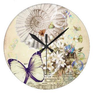 Grande Horloge Ronde botanique français de coquillage vintage beige de