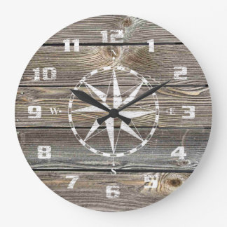 Grande Horloge Ronde Boussole nautique rustique en bois semblante