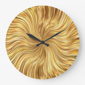 Grande Horloge Ronde Brown abstrait coloré réfléchi
