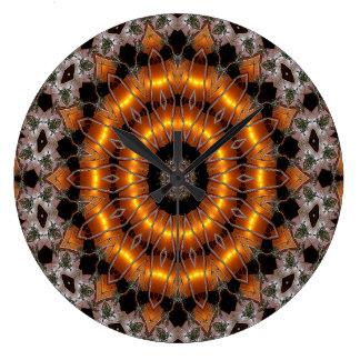 Grande Horloge Ronde Brown et motif concentrique abstrait de pourpre