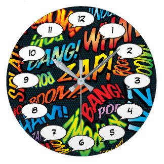 Grande Horloge Ronde Bruits d'art de bruit de bande dessinée