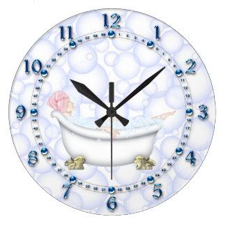 Grande Horloge Ronde Bulles bleues de salle de bains