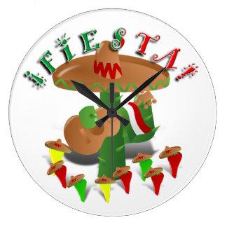 Grande Horloge Ronde Cactus de fiesta avec des poivrons de guitare et