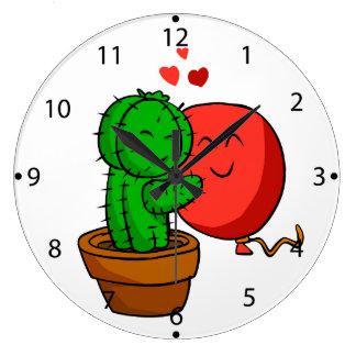 Grande Horloge Ronde Cactus étreignant le ballon