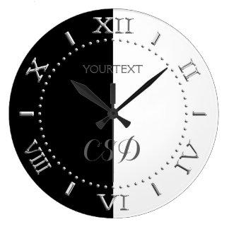 Grande Horloge Ronde Cadran à moitié blanc à moitié noir personnalisé