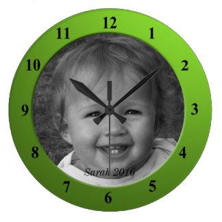 Grande Horloge Ronde Cadre fait sur commande personnel de vert de chaux