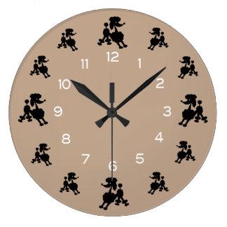 Grande Horloge Ronde Caniches noirs