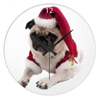 Grande Horloge Ronde Carlin de Noël - chien du père noël - poursuivez