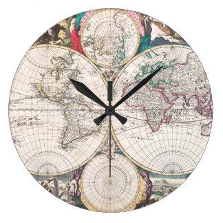 Grande Horloge Ronde Carte antique du monde de Double-Hémisphère