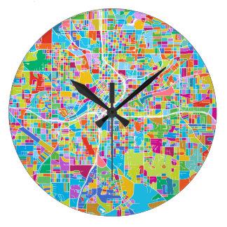 Grande Horloge Ronde Carte colorée d'Atlanta