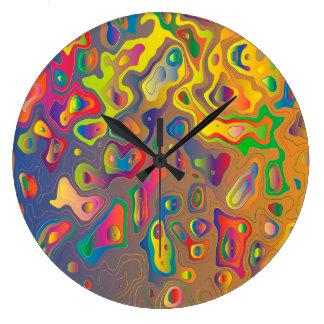 Grande Horloge Ronde Carte de découpe colorée abstraite à la mode