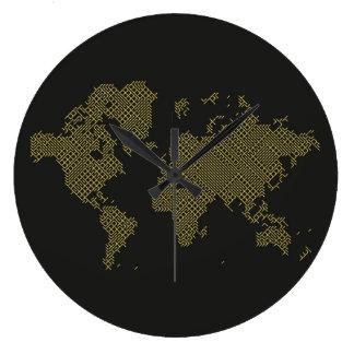 Grande Horloge Ronde Carte du monde de Digitals