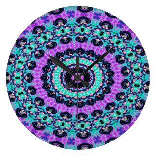 Grande Horloge Ronde Cercle concentrique pourpre et bleu d'art abstrait