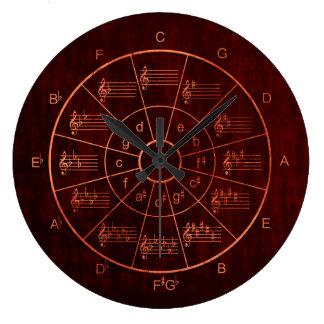 Grande Horloge Ronde Cercle des cinquièmes bruns/des musiciens couleur