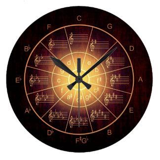Grande Horloge Ronde Cercle des musiciens bruns de couleur de