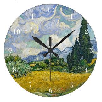 Grande Horloge Ronde Champ de blé de Van Gogh avec des cyprès