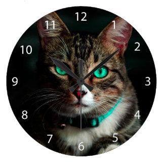 Grande Horloge Ronde Chat aux yeux verts